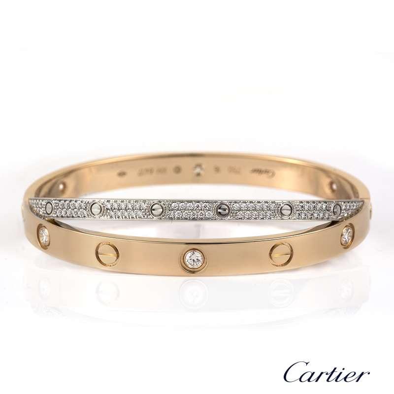 Cartier Infinity Bracelet: Cartier Love Bracelet Pink & White Gold Diamonds Size 16
